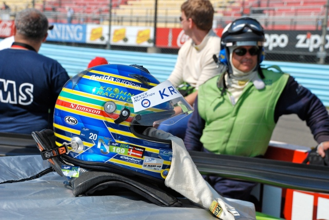 On the grid walk. The helmet of Nic Jonsson (Sweden), driver of the #57, GTLM, Ferrari F458GT, for Krohn Racing.