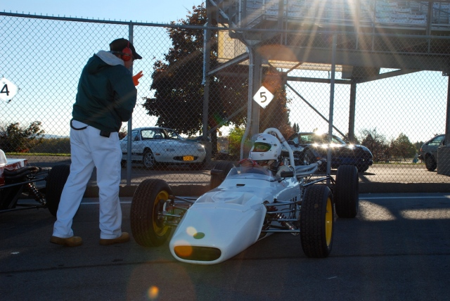 Andrew Stein (#195 - 1970 Merlyn Mk. 11/17) on the grid early Sunday morning.