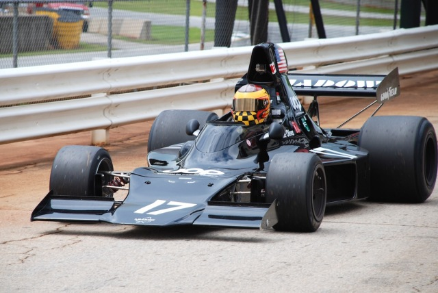Pit in, with Keith Frieser (Sturgeon County, Alberta) in his 1973 Shadow DN1, #17.