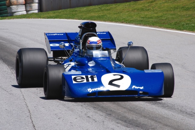 Pit in, with John Delane (Redondo Beach, CA) in his 1971 Tyrrell 002, #2.