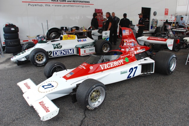 In the paddock with the cars on display. The 1974 Parnelli VPJ-4 of John McKenna (Auburn, WA) #27, and the 1983 Williams FW08 of Cal Meeker (British Columbia, Canada) #42.