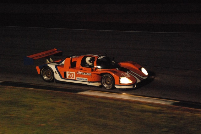Night racing at Road Atlanta! Dennis Spencer/Rich Grupp (#20), 1993 Kudzu DG3-Mazda.